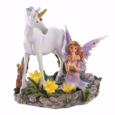 Picture of Unicorn and Sitting Fairy - FOREST MAGIC FIGURINE